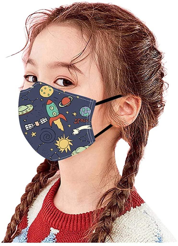5PC Kids Cute Print Face Masks, Boys Girls 3D Cartoon Mouth Shield Washable Reusable Cotton Face Covering