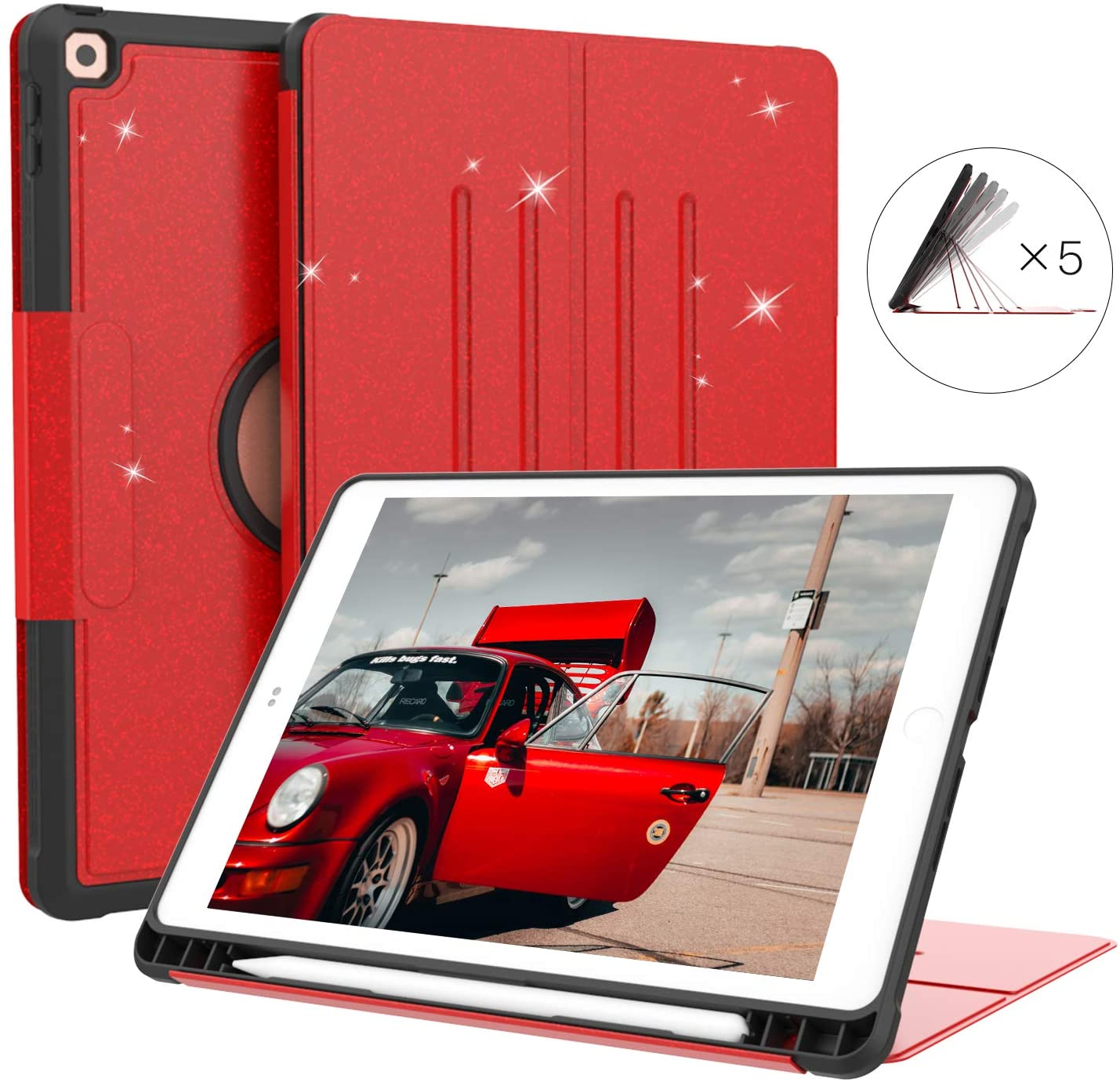 Sevrok iPad 10.2 Case 2019 iPad 7th Generation Case, [5 Magnetic Angles] Glitter Design Protective & Shock Absorption Cover with Pencil Holder, Auto Wake/Sleep for iPad 10.2