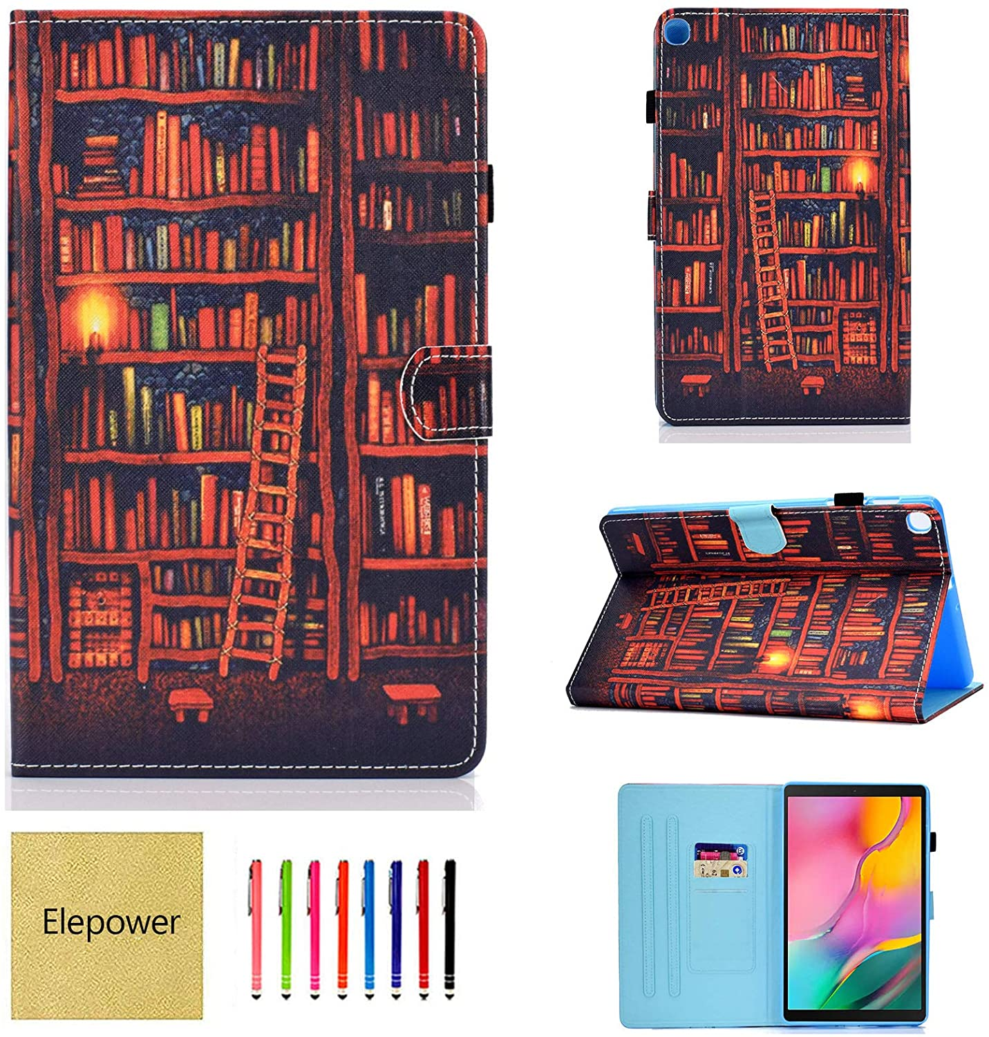 Galaxy Tab A 10.1 Case 2019 Release SM-T510/T515, Elepower Multi-Angle Folio Stand PU Leather Cute Pattern Case Wallet Cover with Card Slots for Samsung Galaxy Tab A 10.1 Inch Tablet, Bookshelf