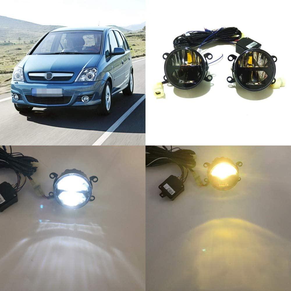 July King 24W LED Bifocal Fog Lamp Assembly for Opel Meriva 2003-2009, 6000K LED Day Running Lights DRL + 6000K High Beam + 4300K Yellow Low Beam