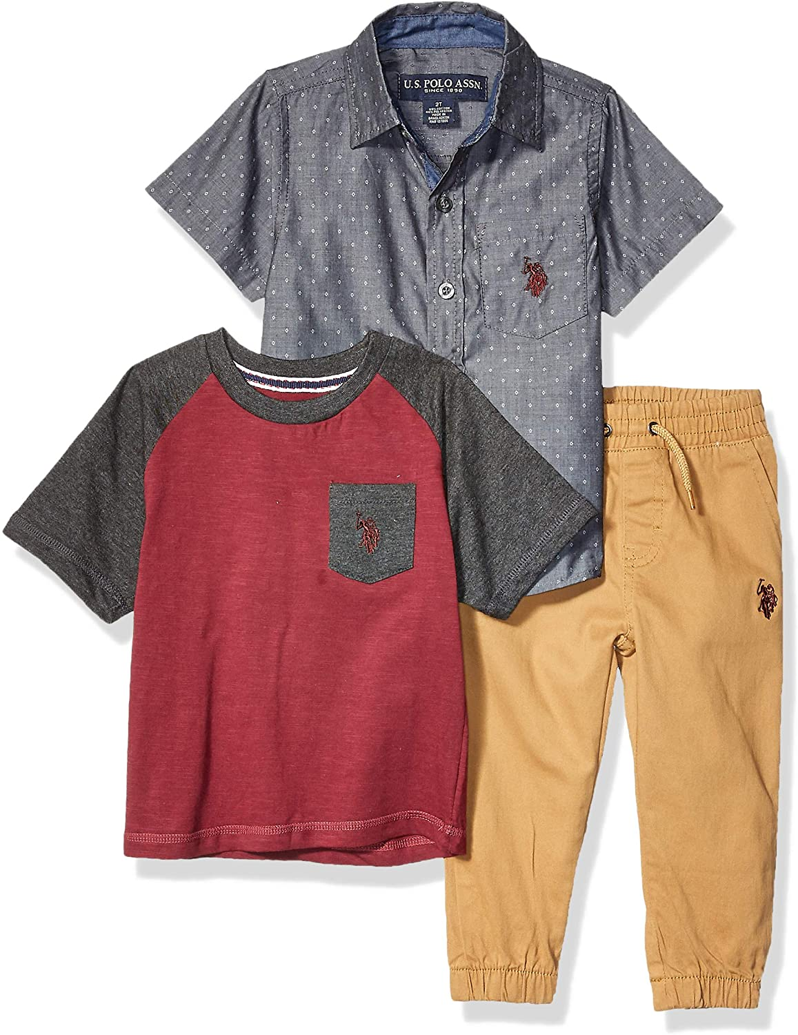 U.S. Polo Assn. Boys' Short Sleeve Woven, Pocket T-Shirt, and Jogger Set