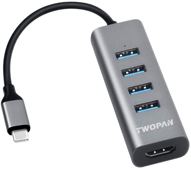 TWOPAN USB C Hub T1-H, 5-in-1 USB Type C Hub with HDMI(4K) Output and 4 USB 3.0 Ports Compatible with Samsung Galaxy S10+/S10/S9/S8 MacBook Air/Pro Chromebook iPad Pro Travellers Choice Space Gray