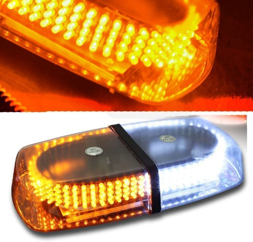 Jackey Awesome 240-LED Snow Plow Safety Strobe Light Warning Emergency 7-Patterns Car Truck Construction Car Vehicle Safety W/Magnetic Base (Amber & White)