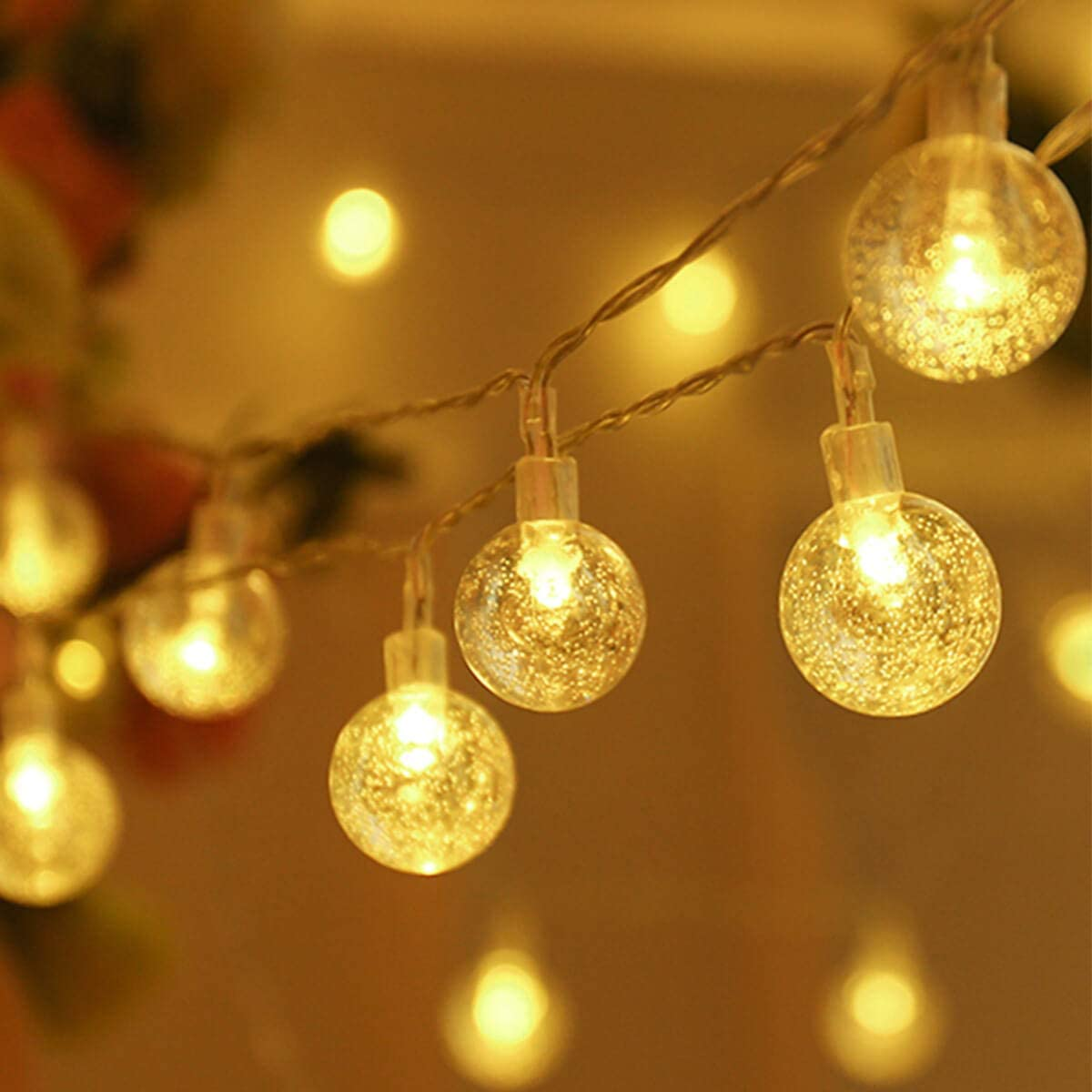ALOVECO Battery Operated LED String Lights, 2Packs 14.8ft 40 Globe String Lights,Waterproof Indoor Outdoor Ball Fairy String Lights, 8 Modes Decorative Lighting for Bedroom, Garden, Party(Warm Color)