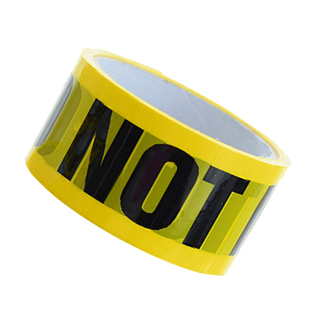 NUOBESTY DO NOT Enter Tape 1Pc, 2500x4.8cm Safety Yellow Warning Tape Adhesive Barricade Tape with Bold Black Font Waterproof PVC Floor Tape Halloween Decoration Sticker