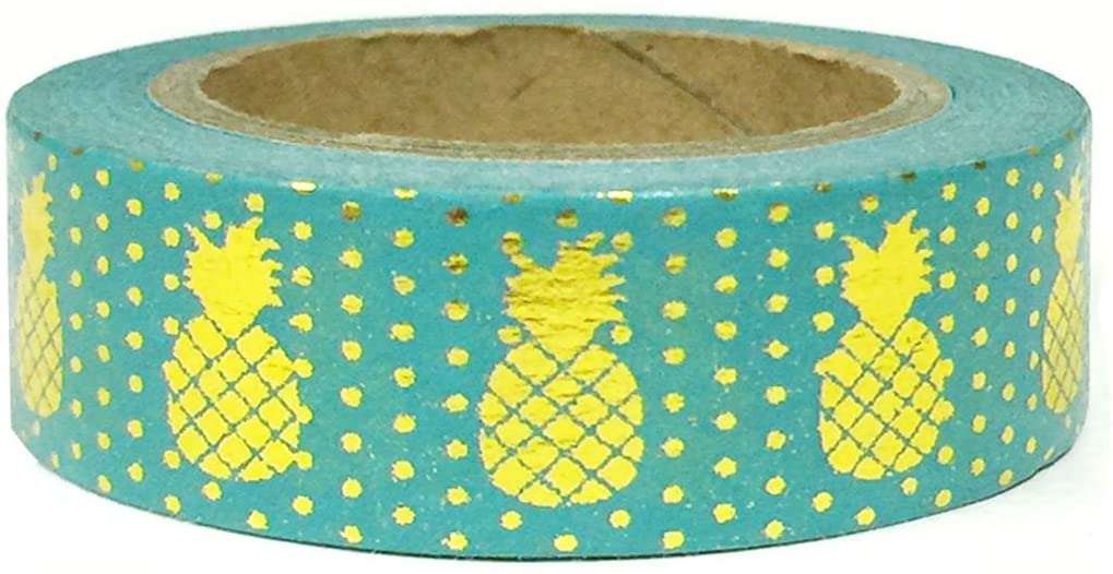 Allydrew Washi Tapes Decorative Masking Tapes, Pineapples Sea Green