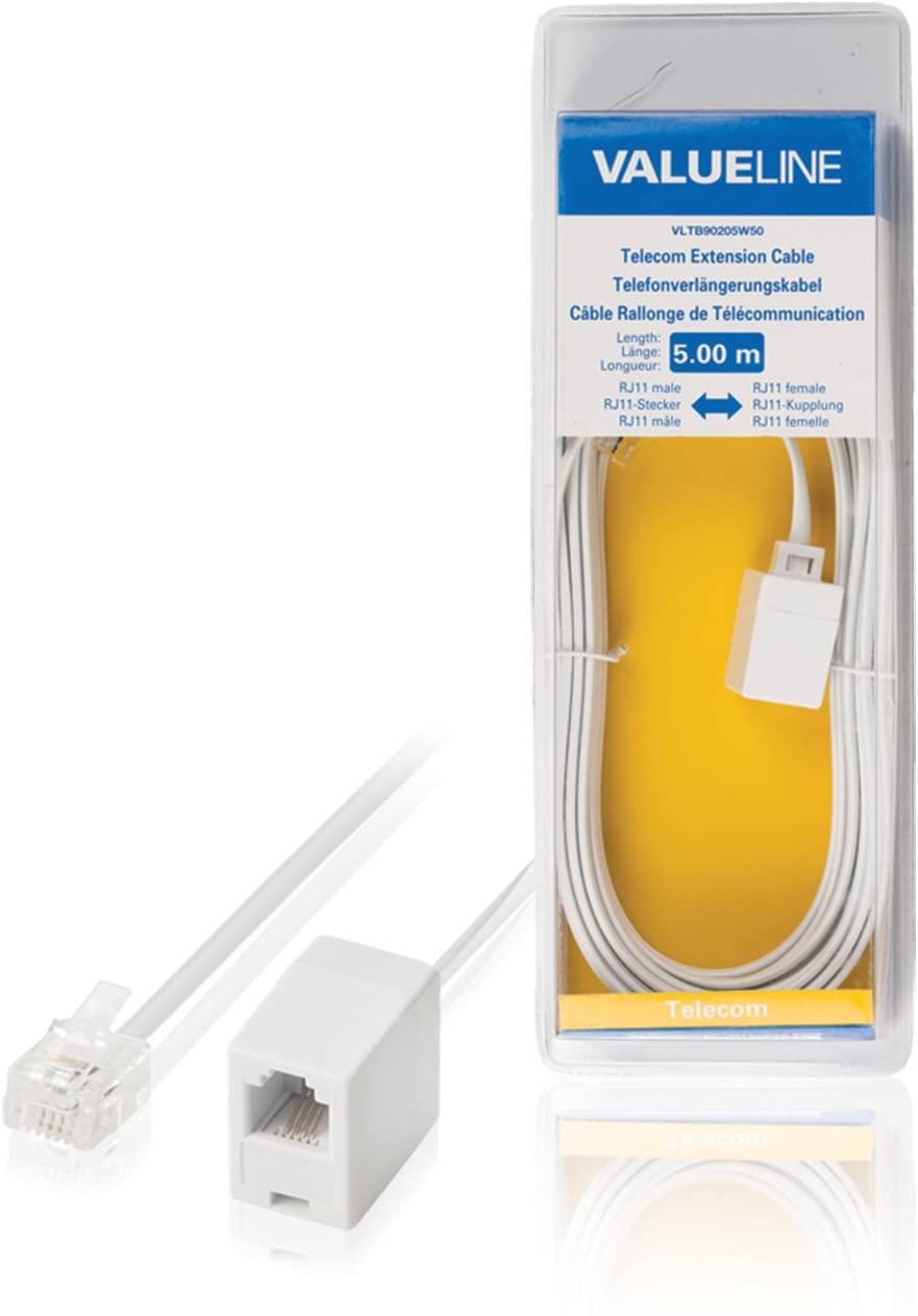 Valueline Telecom Extension Cable RJ11 Plug -RJ11 Socket 5.00 m White