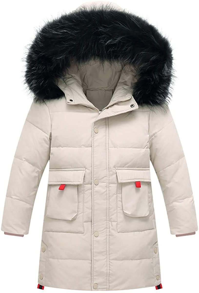 REWANGOING Big Boys Winter Warm Pocket Zipper Fur Trim Hooded Soild Puffer Down Jacket Outwear Snowsuit Coat