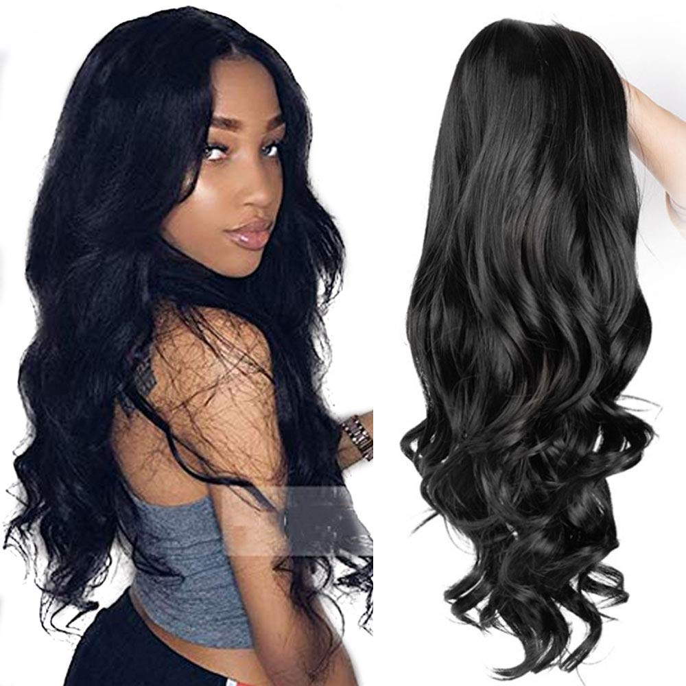 Lihui Long Wavy Wigs Natural Wavy Synthetic Wigs For Women Middle Part 26 Inches Natural Black Color