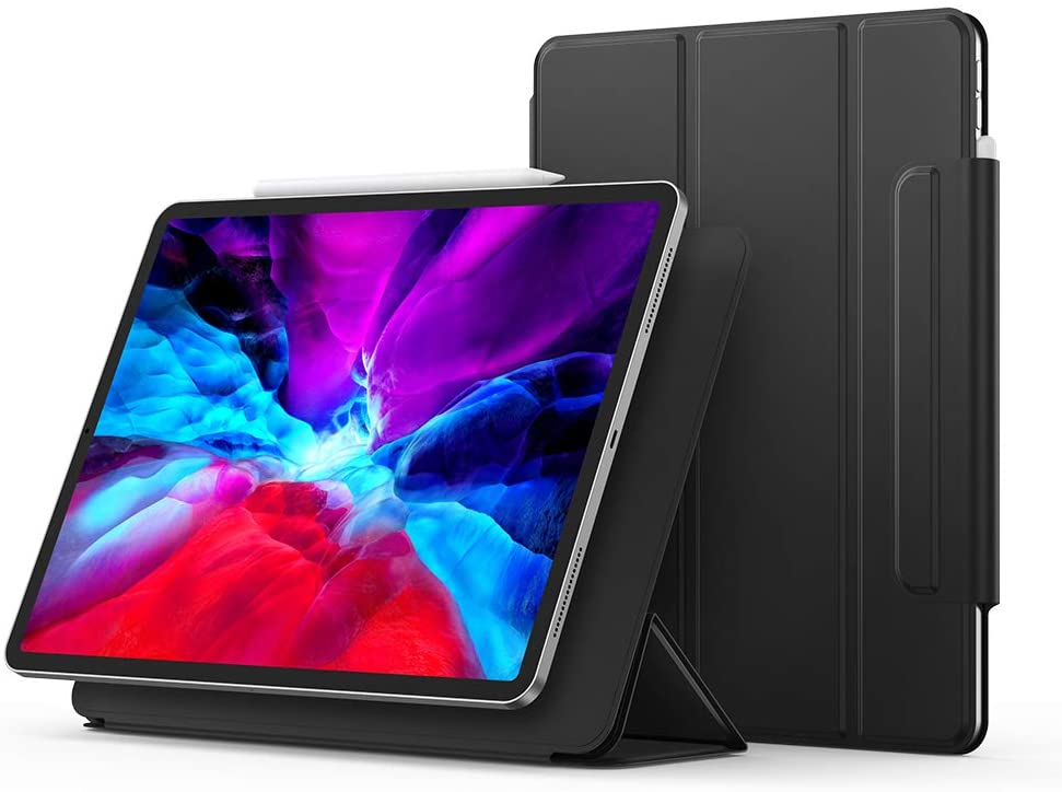 UGREEN Magnetic Case for iPad Pro 12.9 2020 Strong Magnetic Attachment Smart Slim Trifold Stand Cover Protective Case, Auto Sleep/Wake, Hard Back Cover Black