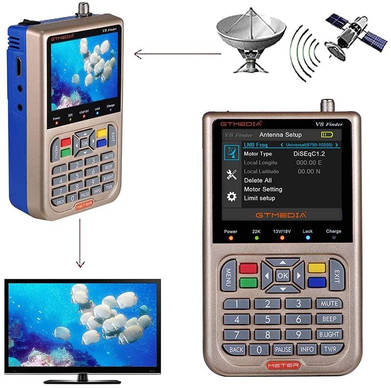 GT MEDIA V8 Satellite Finder Meter TV DVB-S/S2/S2X Signal Receiver H.264 Sat Detector, HD 1080P Free to Air FTA 3.5