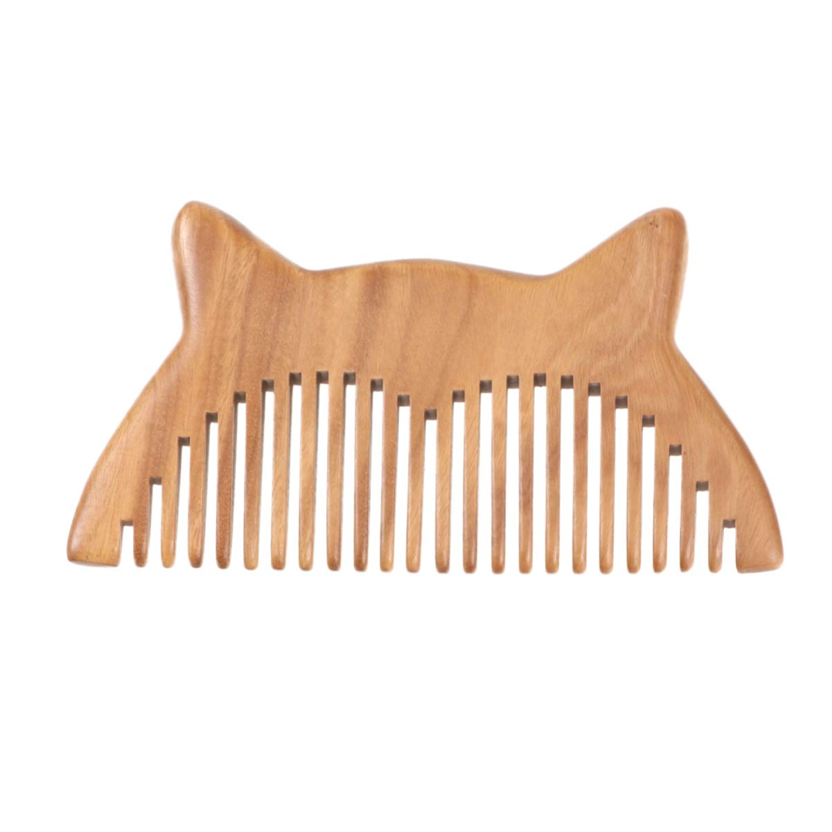 Beaupretty Natural Wooden Wide Tooth Hair Comb,Sandalwood Comb Anti-static Wood Comb Cute Cat Ears Comb Hair Brush Pocket Comb