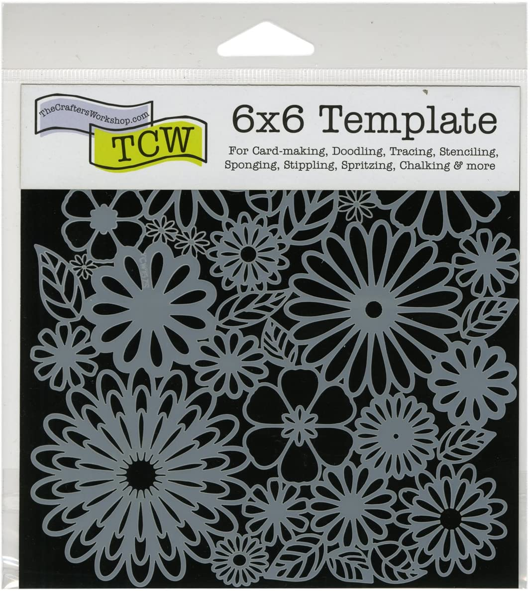 CRAFTERS WORKSHOP TCW157S Template, 6 by 6-Inch, Flower Frenzy