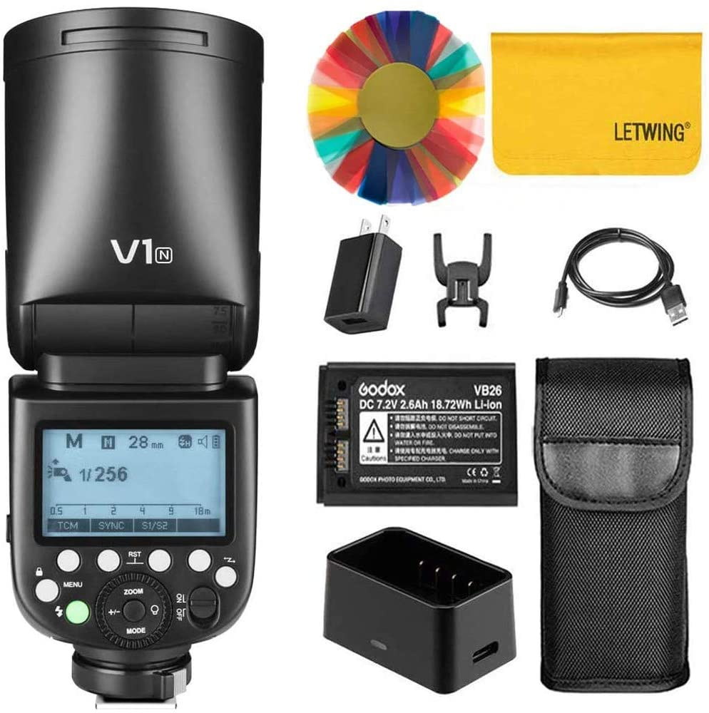 Godox V1-N 76Ws 2.4G TTL On-Camera Round Head Camera Flash Speedlight Compatible for Nikon Camera,1/8000 HSS, 480 Full Power Shots, 1.5 sec. Recycle Time,Rechargeable 2600mAh Li-ion Battery