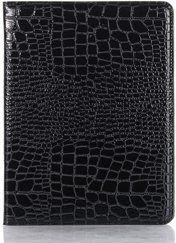iPad Pro 11 inch 2020 Case for Women, DMaos Crocodile Reflector Leather Stand Folio Case Smart Cover with Pen Holder, Auto Sleep/Wake, Card Holder, Classic Fashion Protector - Black
