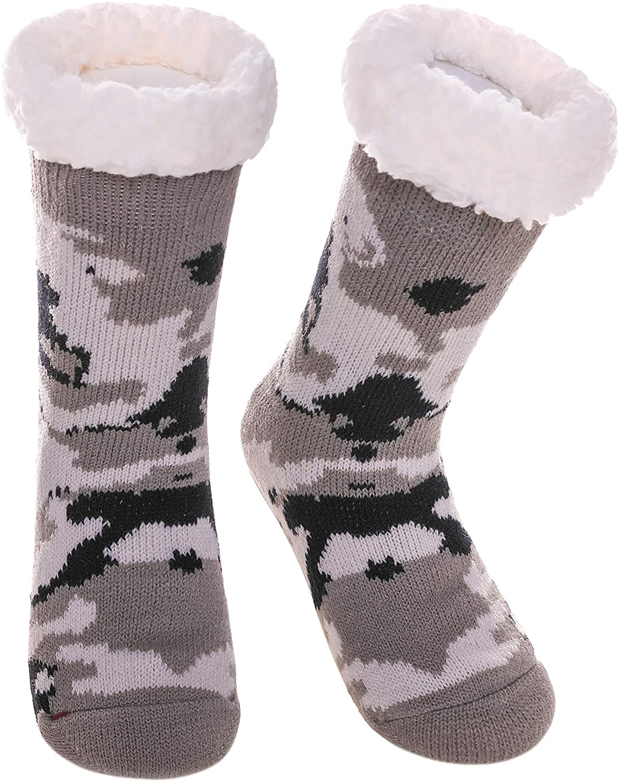 Childrens Boys Girls Cute Animal Fuzzy Slipper Socks Soft Warm Thick Fleece Lined Winter Kids Toddlers Christmas Socks