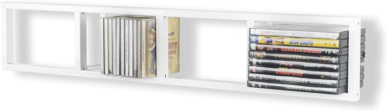 You Have Space - Modern Wall Mount Cd DVD Media Rack Storage Metal Shelf Organizer (White)