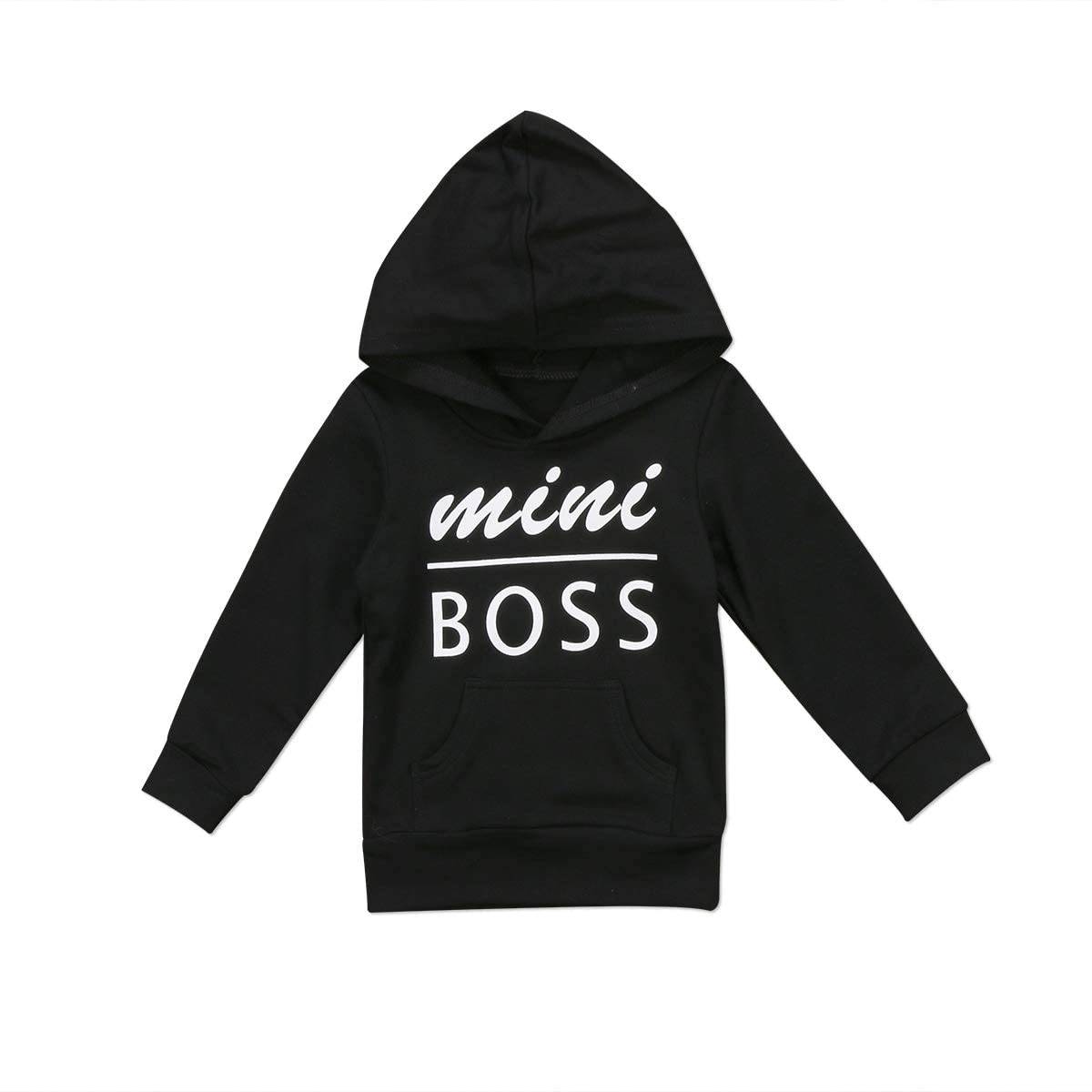 Kid Boy Girls Mini Boss Hoodie Solid Long Sleeve Letter Sweater Tops Hooded Sweatshirt Outwear Pullover Outdoor with Pocket