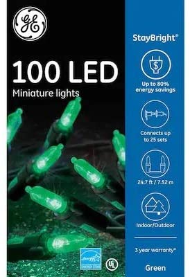 Staybright GE 100-Count 24.75-ft Green LED Plug-in Christmas String Lights 90833LO