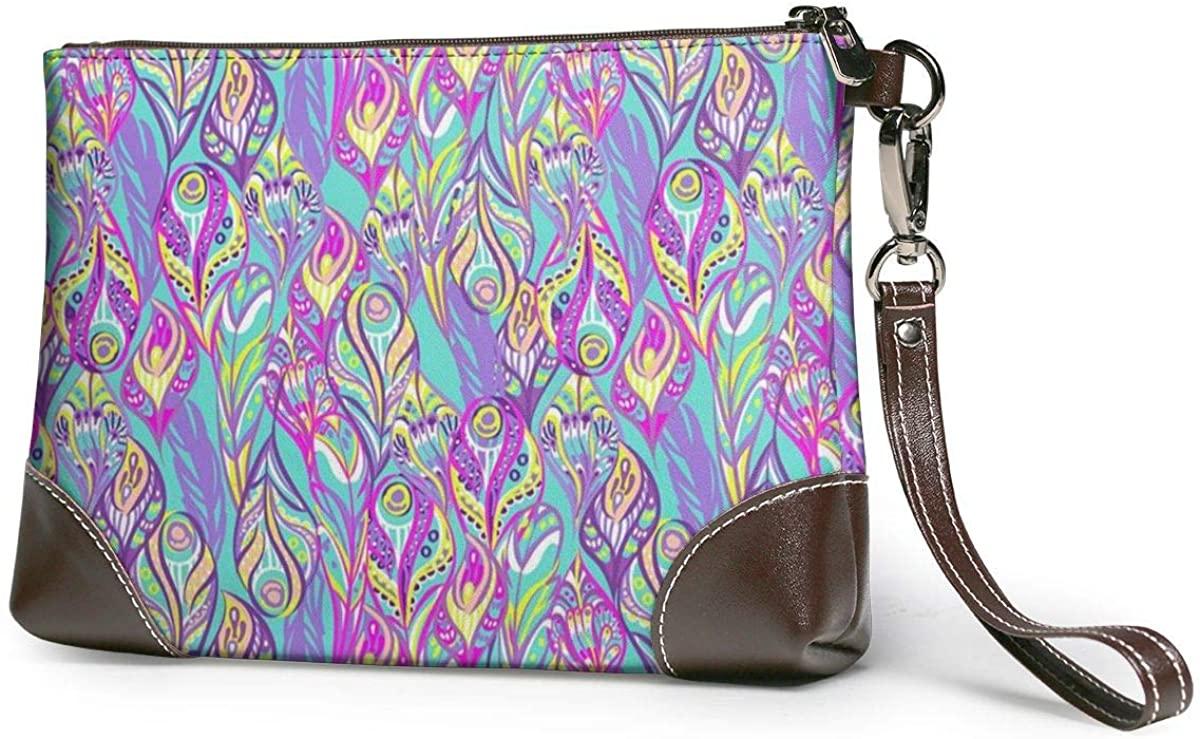 Bubble-free Application And Bright Colors Leather Clutch Fashion Handbag Phone Wristlet Purse