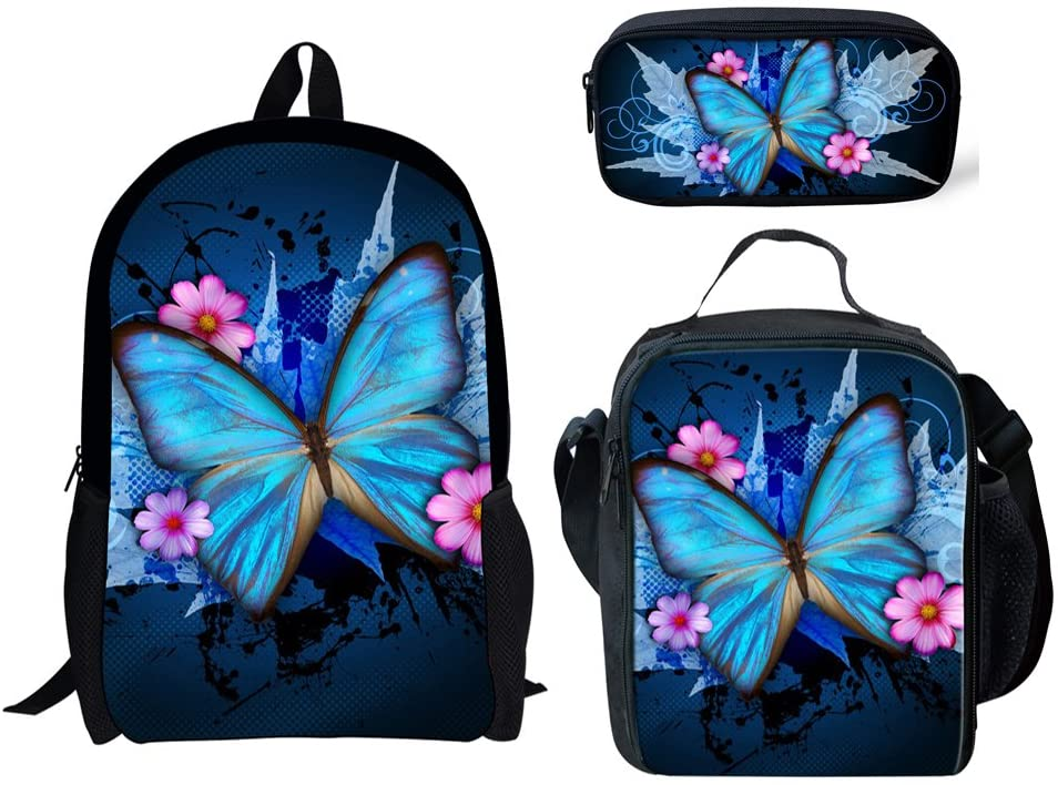 INSTANTARTS Butterfly School Backpack Lightweight Satchel Bookbag Lunchbox Pencil Case Set