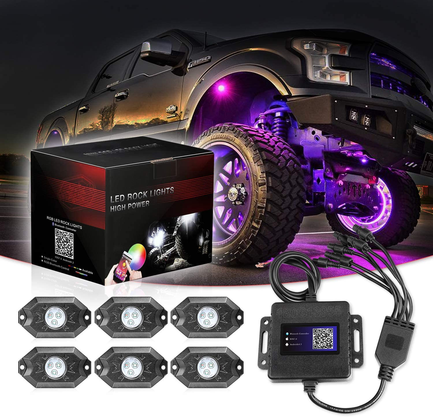 SWATOW 4x4 RGB LED Rock Lights, 6 Pod Lights Multicolor Neon LED Lights w/Bluetooth Control Underglow Trail Rig Lights Wheel Rock Lights for Truck Car ATV UTV