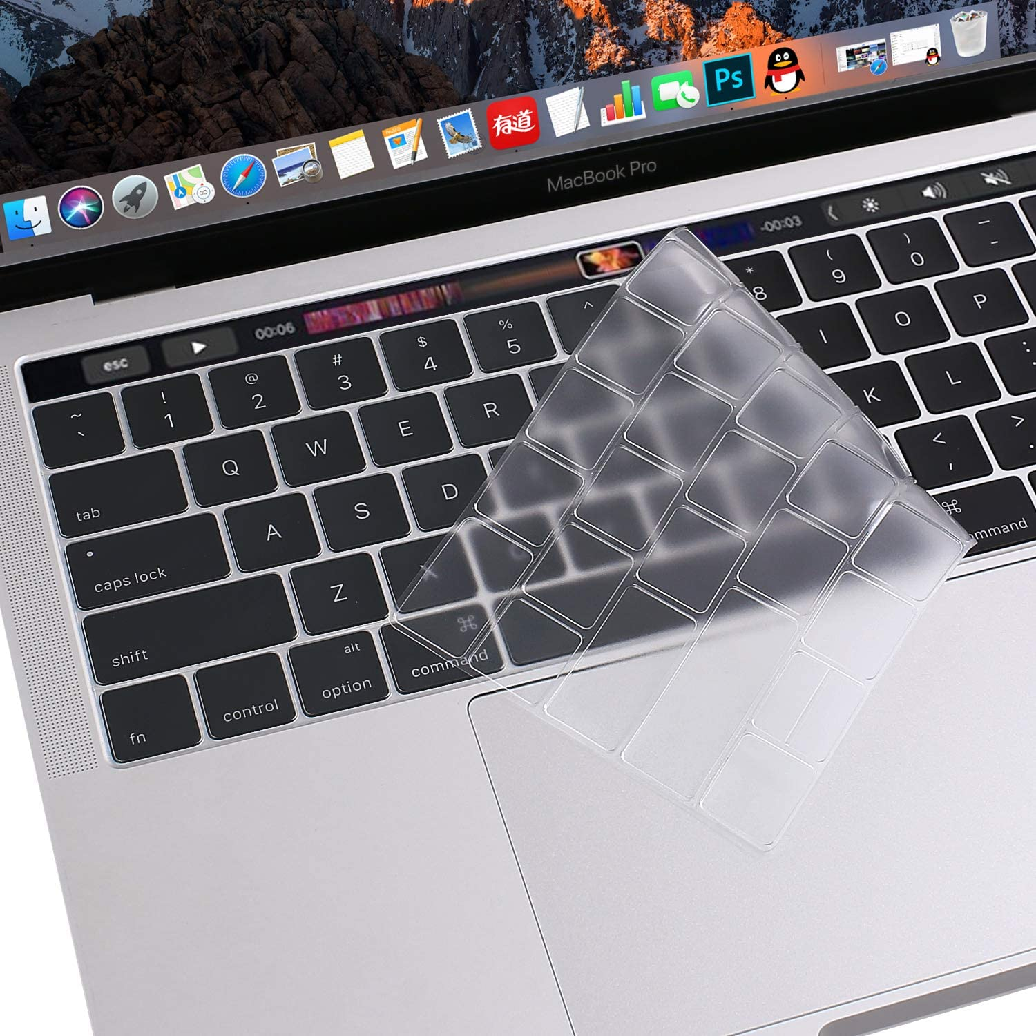 MOSISO Premium Ultra Thin TPU Keyboard Cover Compatible with MacBook Pro with Touch Bar 13 and 15 inch 2019 2018 2017 2016 (Model: A2159, A1989, A1990, A1706, A1707) Transparent Skin, Clear