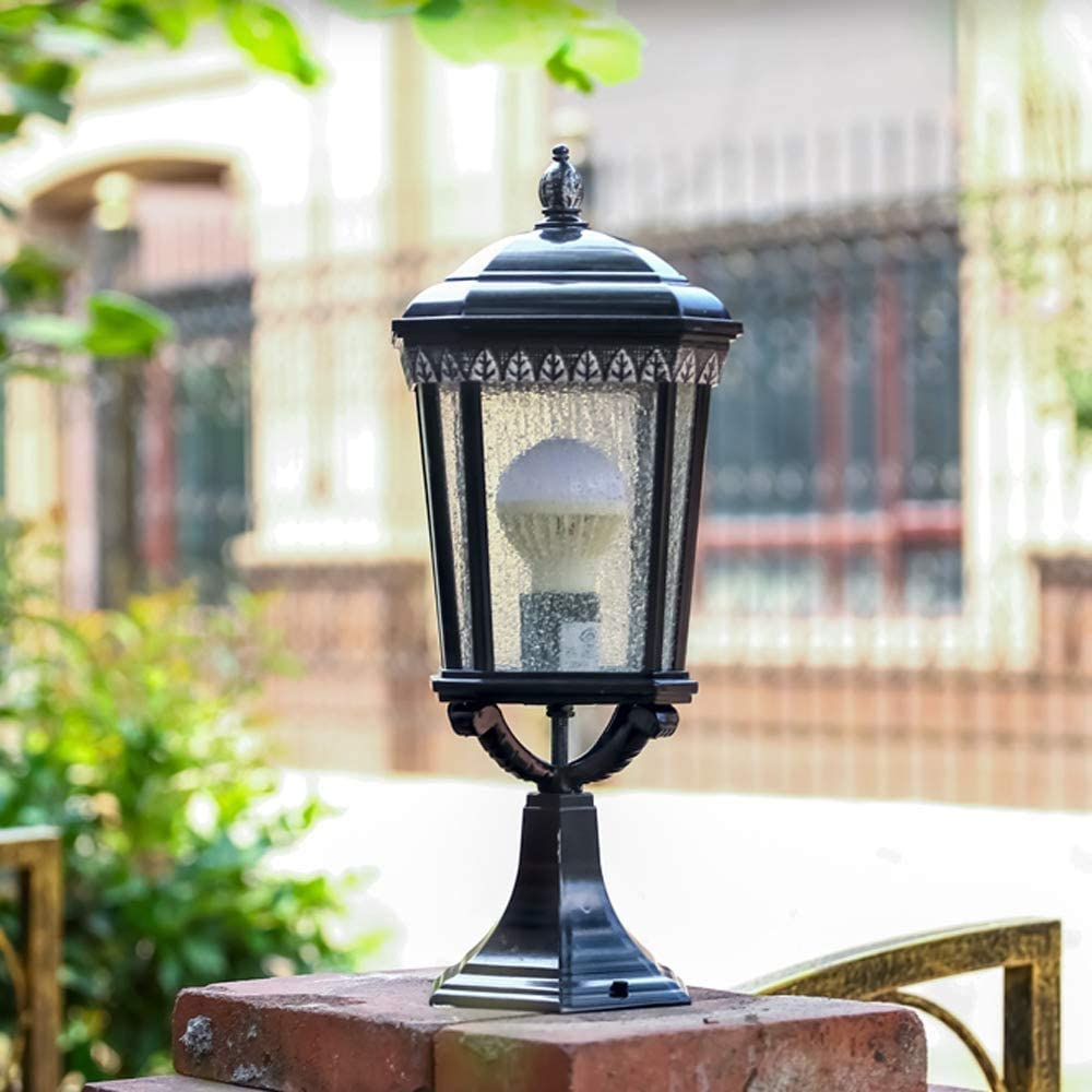 Pcqre Black Outdoor Glass Lantern Column Lamp E27 Victoria Waterproof Lampshade Light Patio Decking Stake Lamp Retro Aluminum Lawn Light IP55 Villa Garden Post Light
