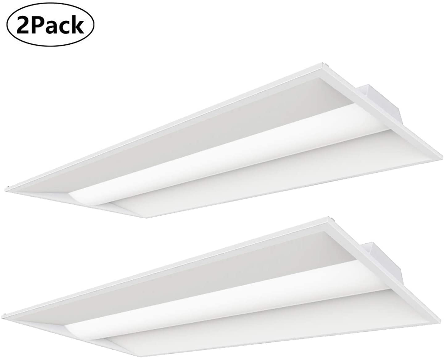 2PCS 2x4 FT LED Troffer 40W Light Fixture for Office Hospital 5000LM 4000K 0-10v Dimmer Control DLC UL Listed, 50,000 Life Hours