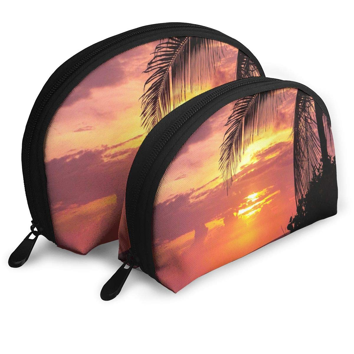Half Moon Cosmetic Bag Sunset Beach And Plam Tree Travel Makeup Pouch Toiletry Bag Set of 2 for Women