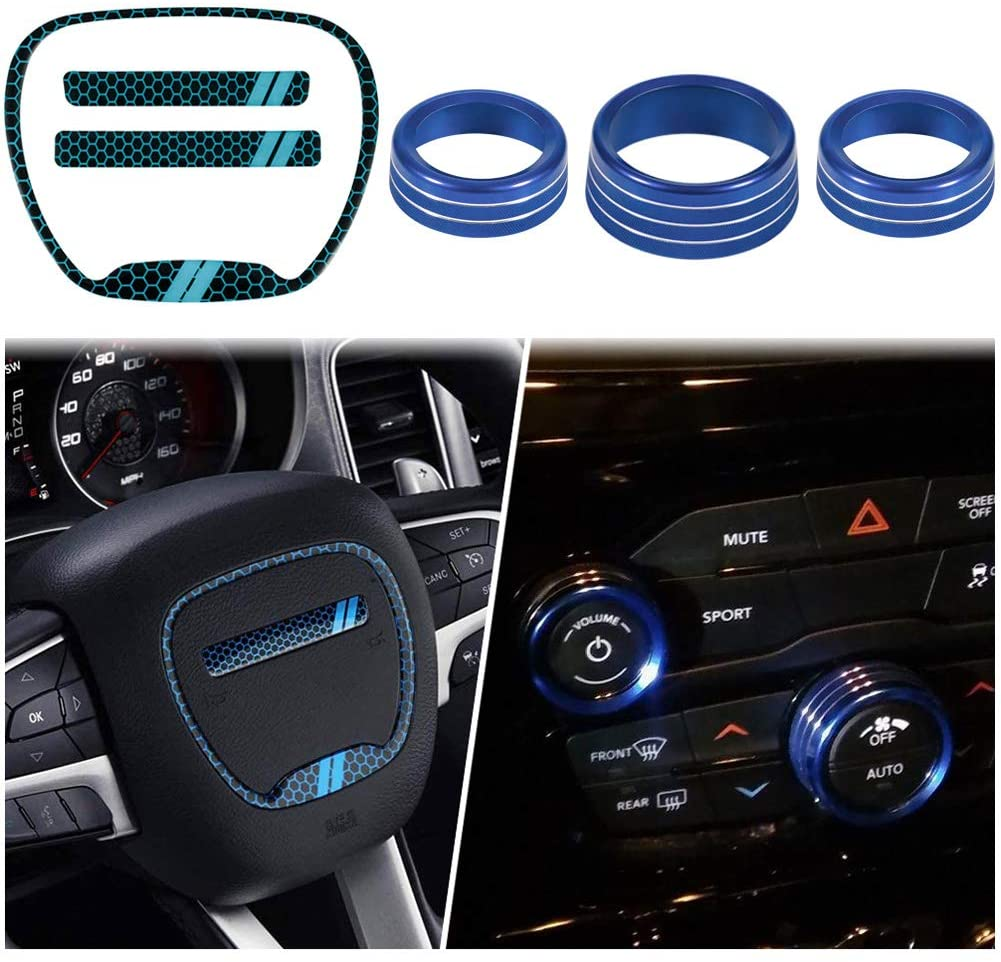 Steering Wheel Emblem Kit & Aluminum Alloy Air Conditioner Switch CD Button Knob Cover, Interior Accessories Compatible with 2015-2020 Dodge Challenger Charger Durango RT & Scat Pack (Red, 6-Pack)