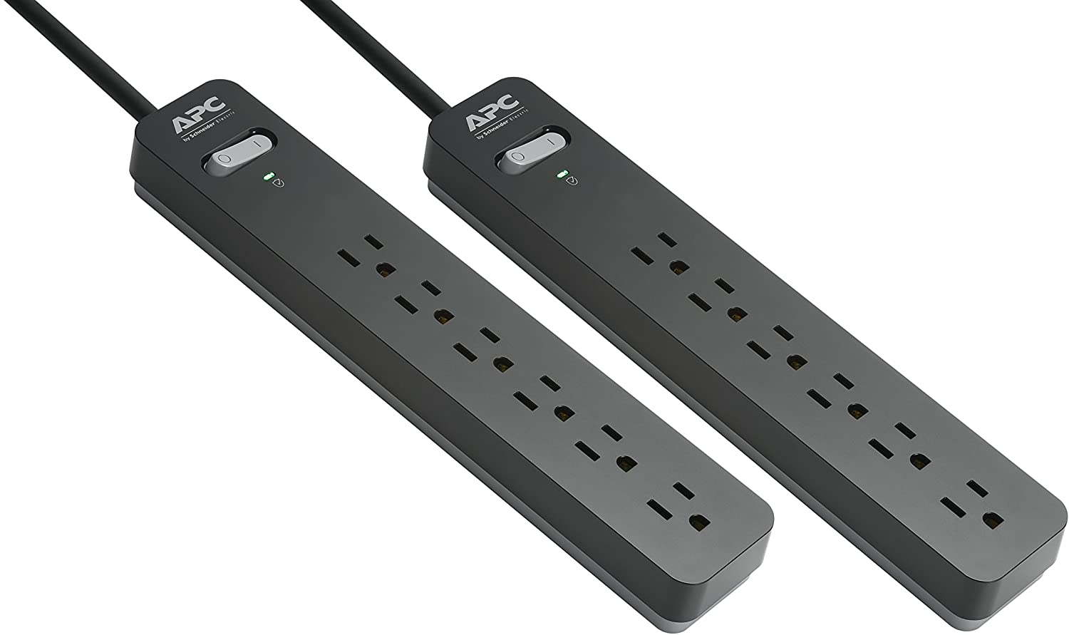 Power Strips with Surge Protection, 2-Pack, APC black Surge Protector PE66DP, 1080 Joule, 6 Outlet Surge Strip