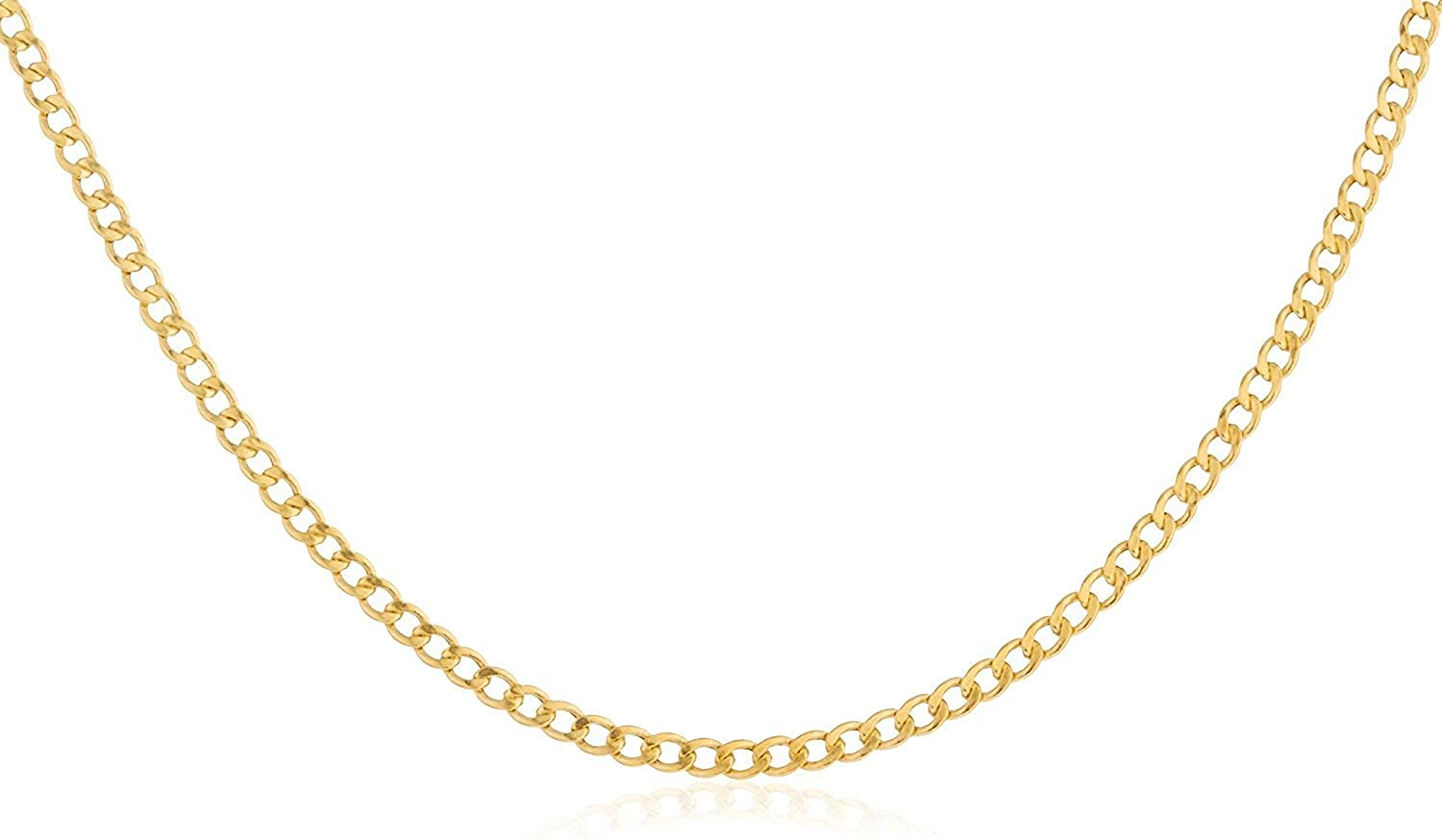 10K Gold 2.0mm Cuban/Curb Link Chain Necklace - Made In Italy- Yellow, White or Rose
