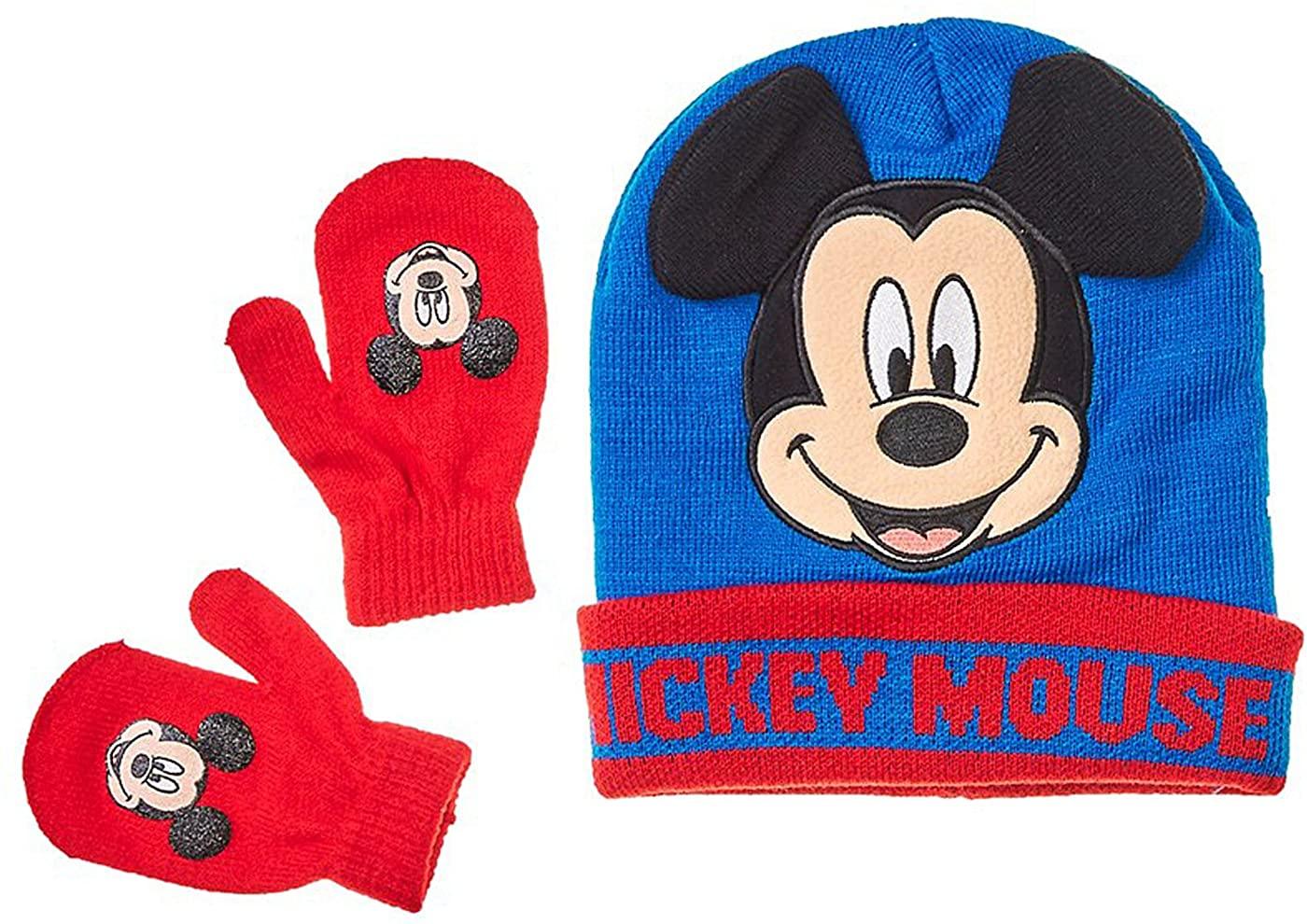 Mickey Mouse Little Toddler Boys Winter Hat & Mitten Set