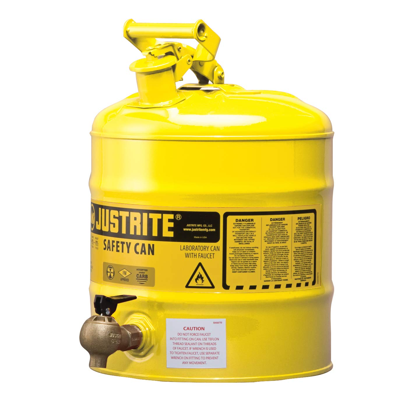Justrite 7150240 Type 1 Shelf Safety Can with 08540 Faucet, 5 Gal, Yellow