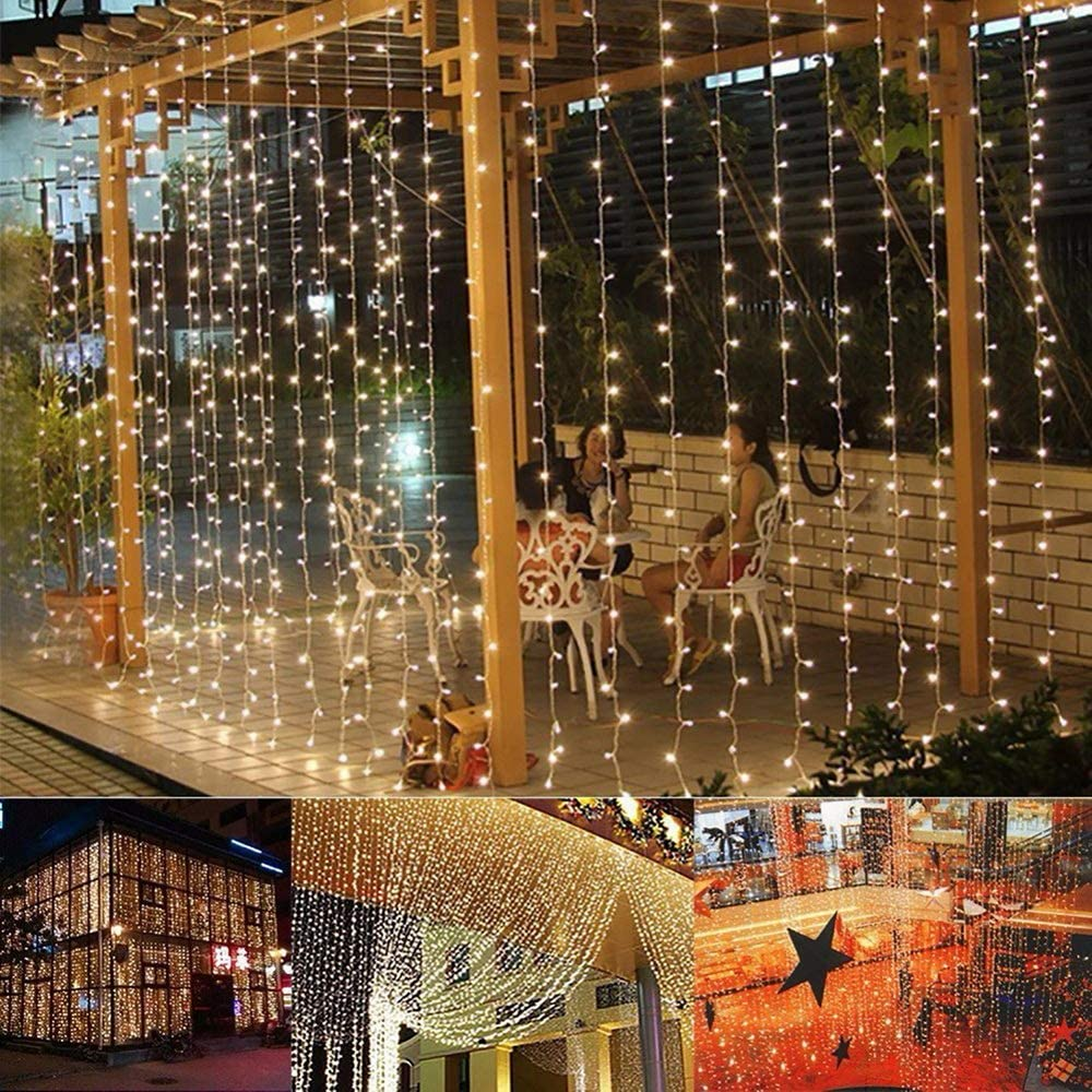 Zronji 3M x 3M 300-LED Warm White Light Romantic Christmas Wedding Outdoor Decoration Curtain String Light Indoor Outdoor String Lights (US Stock)