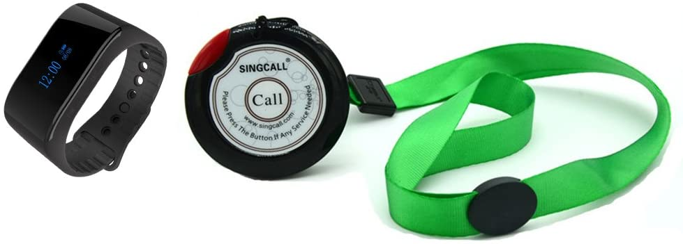 SINGCALL Patient Calling System Wireless Personal Pager Home Care,Pack of 1 Watch Receiver and 1 Pager