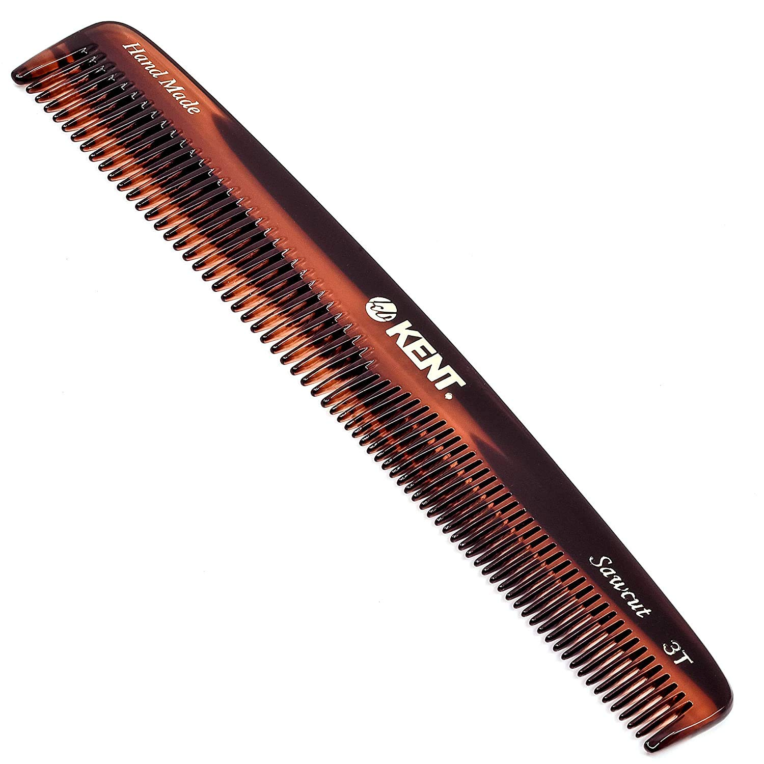 Kent 3T 6.5 Inch Double Tooth Hair Dressing Comb, Fine and Wide Tooth Dresser Comb For Hair, Beard and Mustache, Coarse and Fine Hair Styling Grooming Comb for Men, Women and Kids. Made in England