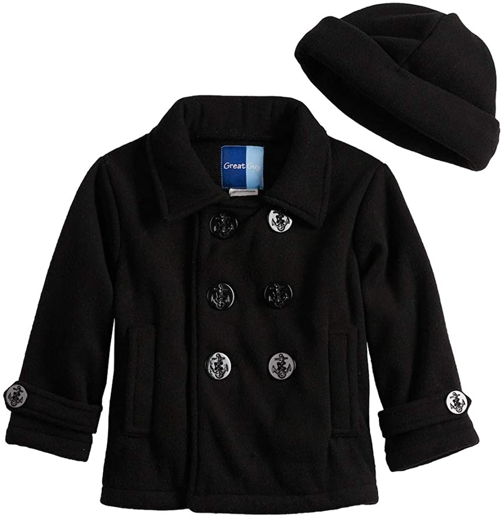Great Guy Boys Two Piece Pea Coat Mid-Weight Fleece Jacket and Hat Set for Fall/Winter