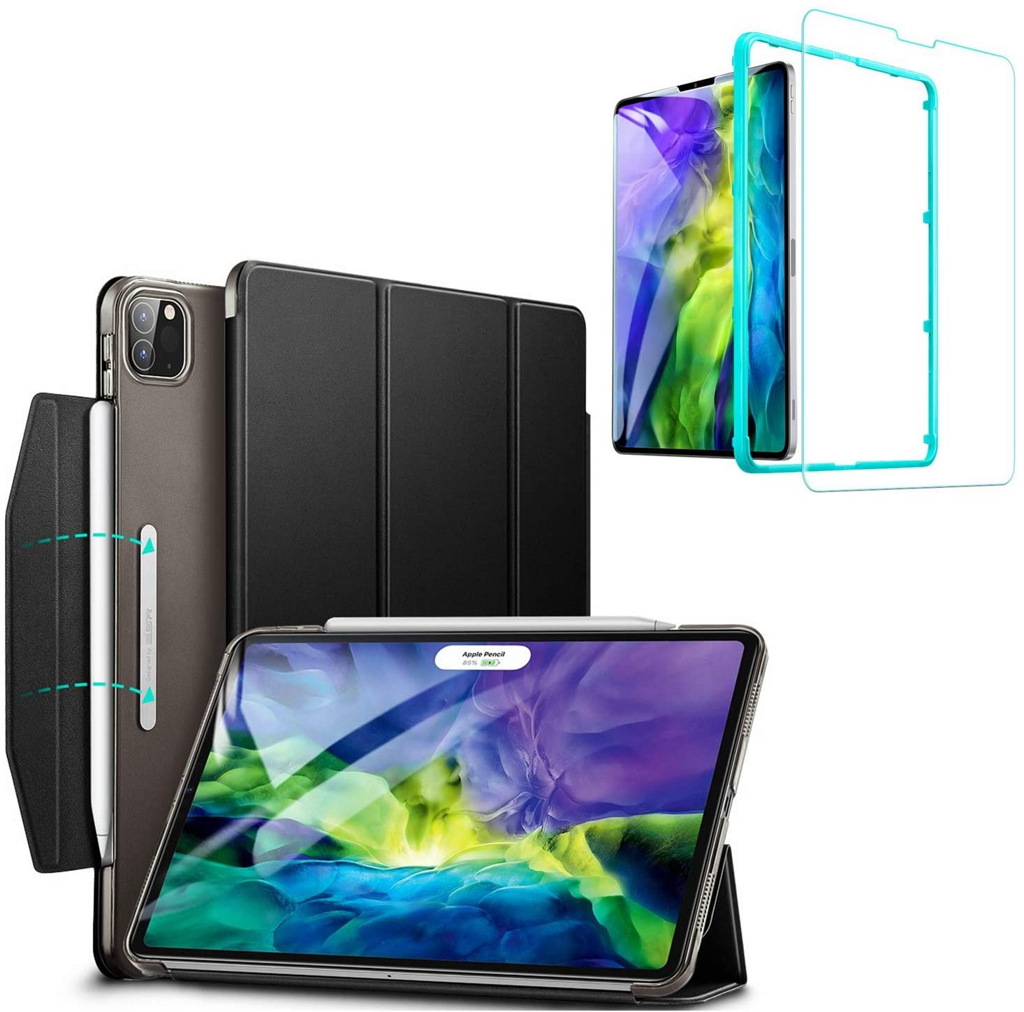 ESR Yippee Trifold Smart Case for iPad Pro 11 2020 with Screen Protector, [Auto Sleep/Wake] [Supports Pencil Wireless Charging], Lightweight Stand Case Cover with Clasp - Black
