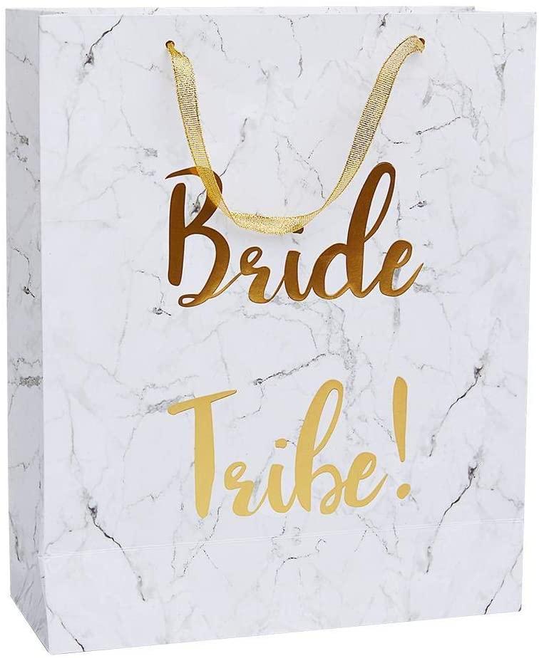 Smiffys 23784 Bride Tribe Gift Bag, Women, White & Gold