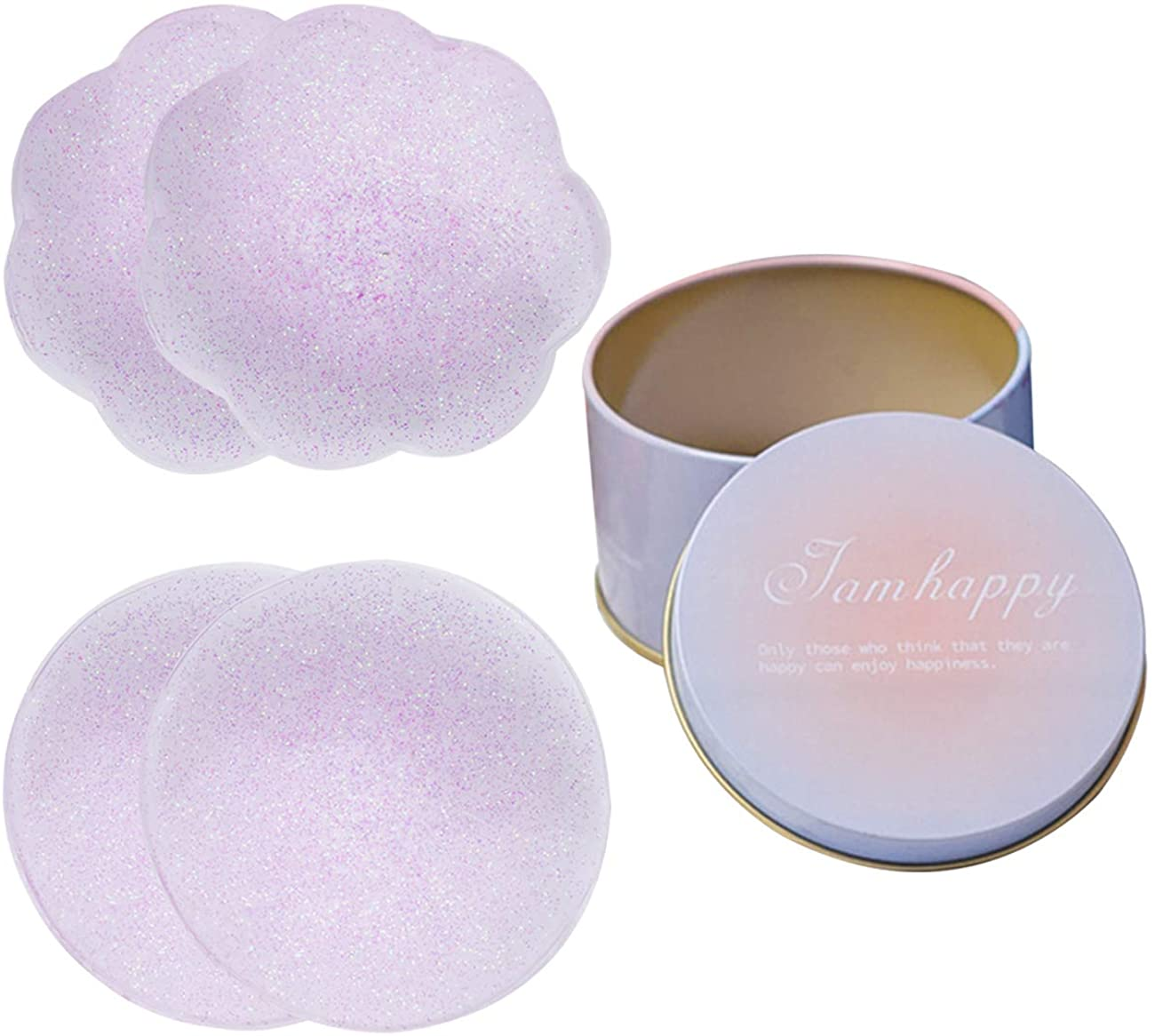 Silicone Nipple Covers - 2 Pairs,Women's Reusable Nippleless Pasties Breast Round Invisible