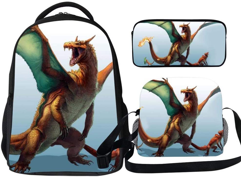 3 Piece Backpack Set Real Life Charizard Poke-mon Students Casual Bookbag Set with Insulated Lunch Tote Bag and Pencil Case for Teens Boys Kids