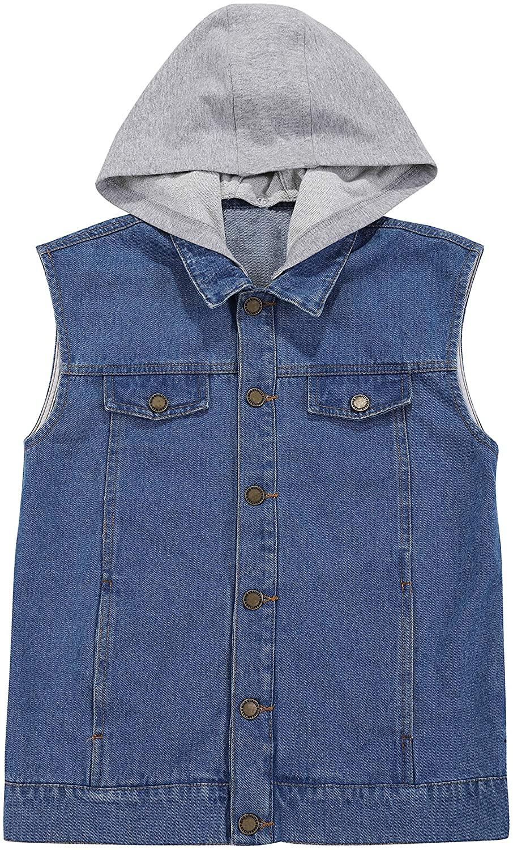 Tronjori Boy's Fashion Denim Jacket Sleeveless Button Down Removable Hoodie Outerwear Waistcoat Vest 2-12