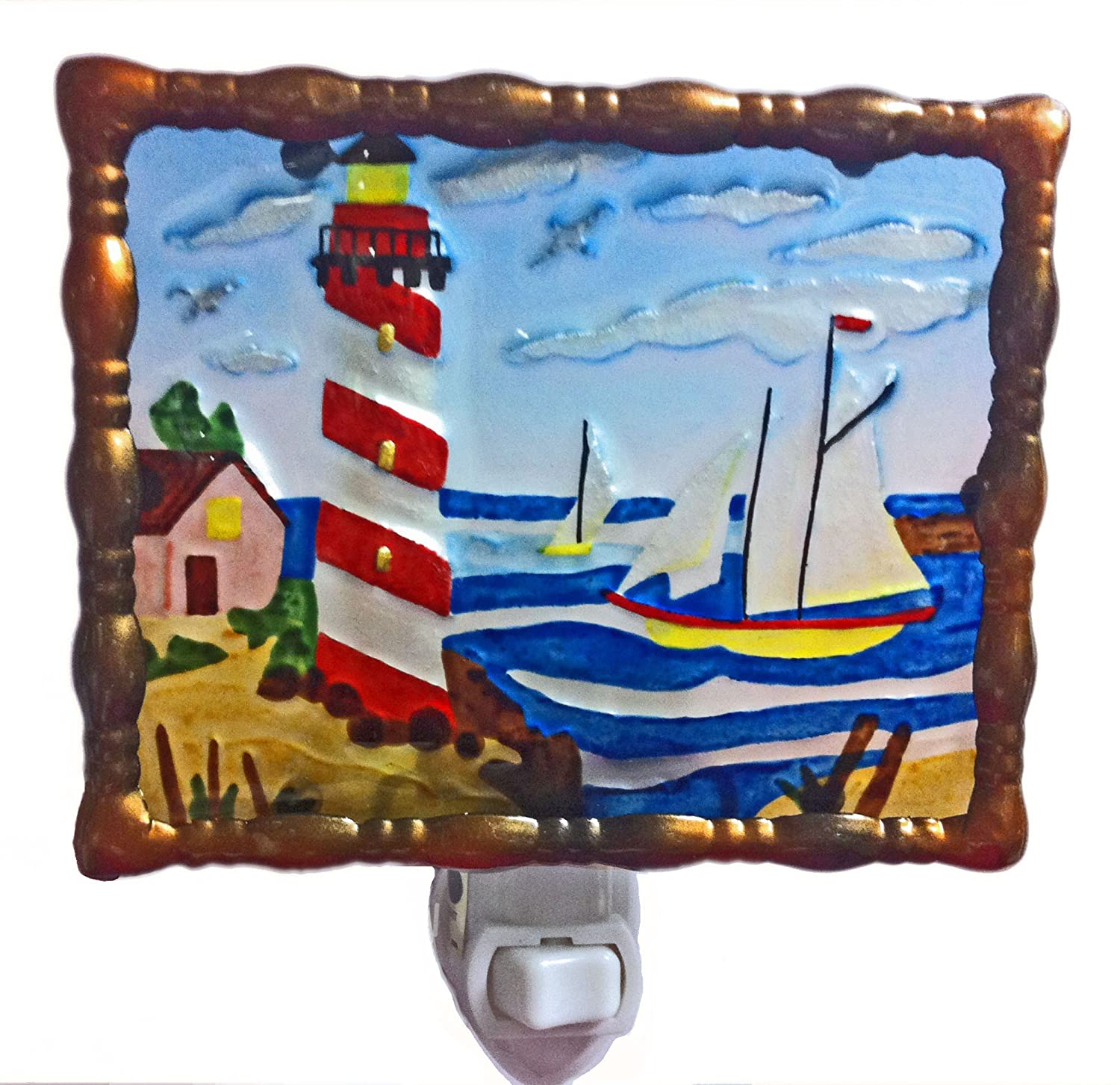Continental Art Center NL9901 Hand Painted Glass with Night Light House, 5.2 by 5.6 by 1.6-Inch