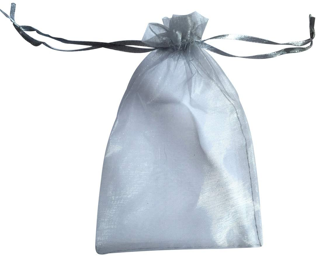 ATCG 50pcs 8x12 Inches Large Drawstring Sheer Organza Bags Decoration Festival Wedding Party Favor Gift Candy Toys Makeup Pouches (Silver)