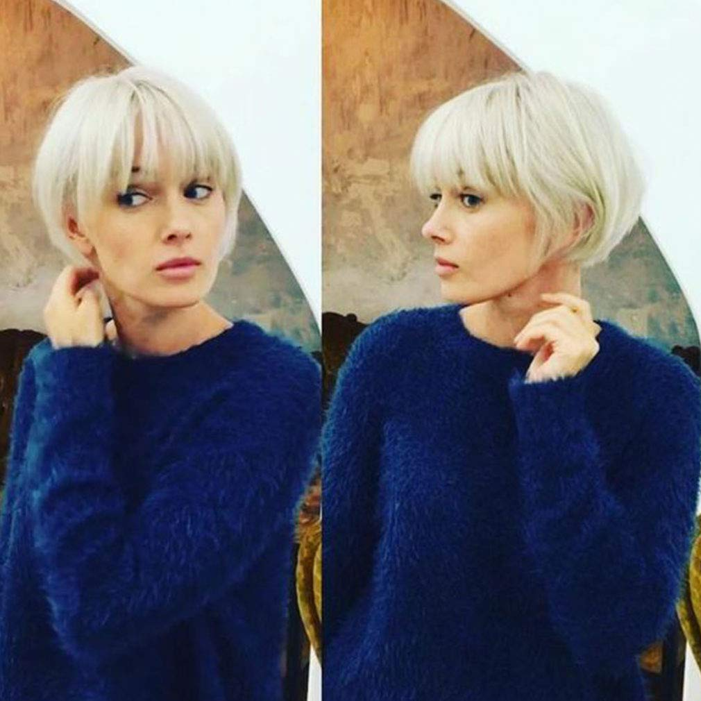 Short Pixie White Cut Wigs With Bangs Cute Wig for Woman Man Wigs Natural Looking Heat Resistant Fiber Daily Party Wigs