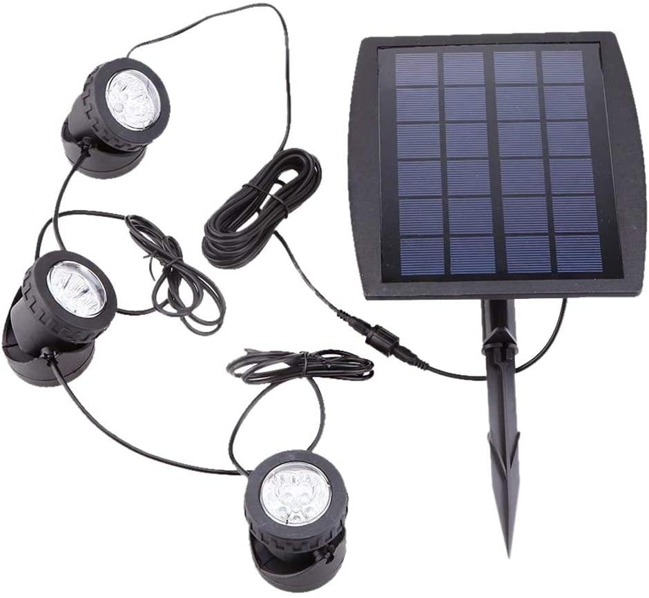 AMOMAZ Outdoor Solar Powered LED 3 RGB Spotlight Garden Pool Pond Yard Colorful Light
