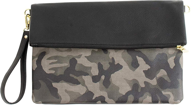 MALTA Vegan Leather Wristlet for Women and Men Camoflauge Clutch Purse Bag High Capacity Light Simple