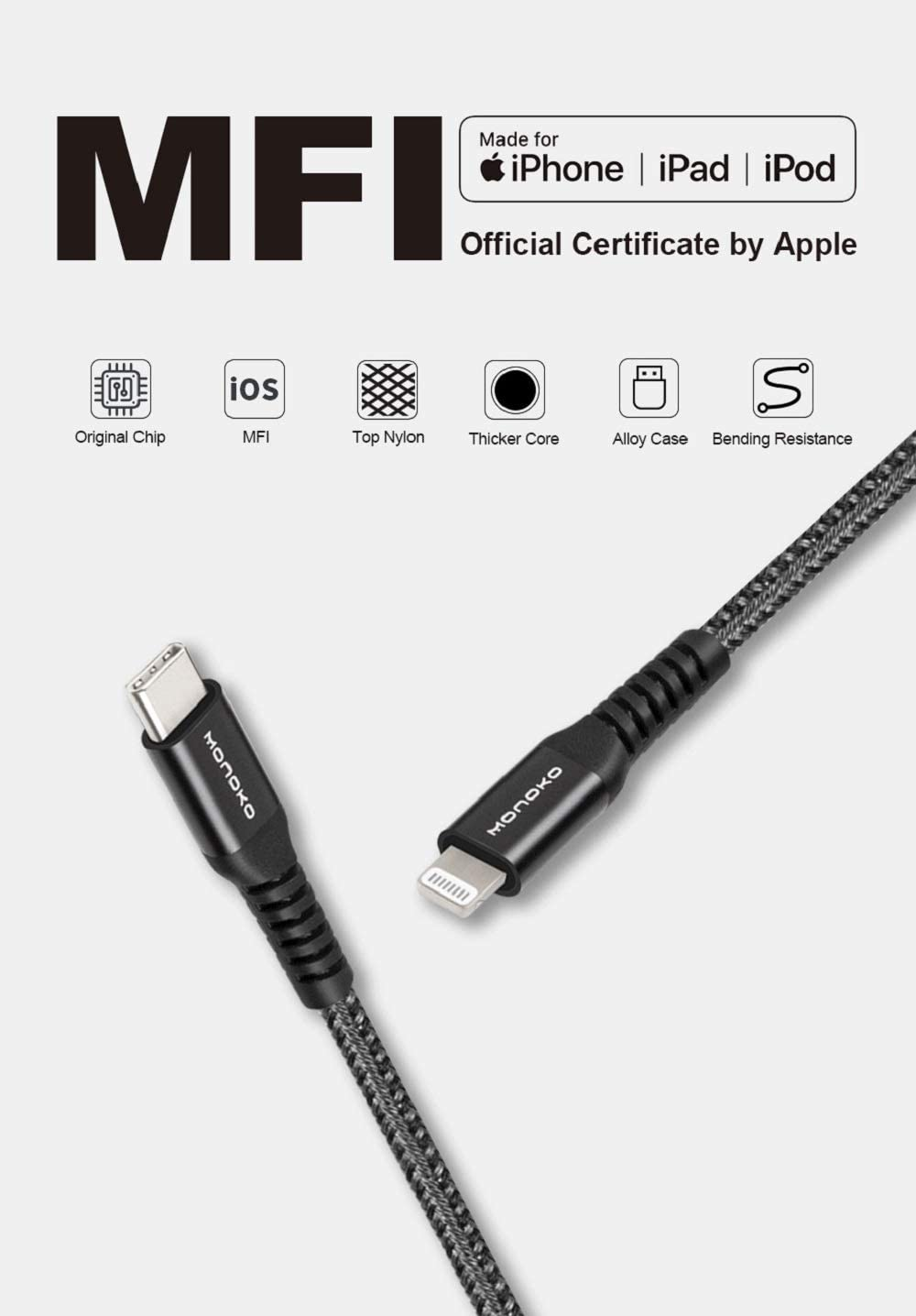 MONOKO USB C to Lightning Cable [1.2m, Apple MFi Certified] PD Fast Charging Syncing Cord for iPhone Xs/XR/X/XS Max/8/8 Plus iPad iPod Supports Power Delivery (Use with USB C Chargers) (1-Pack, Black)